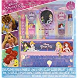 Townley Girl Disney Princess Makeup Set with 11 Pieces, Including Lip Gloss, Nail Polish, Mirror, Gem Stickers and Sequin Hol