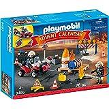 PLAYMOBIL 9486 Advent Calendar Construction Site Fire Rescue Playset (76 Pieces),Multicolor
