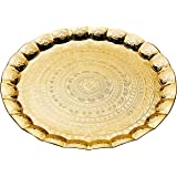 Luxury Ottoman Tray Round Gold Silver Serving Tray Decorative Vanity Tray Platter for Serving, Breakfast Coffee Table Tea Des