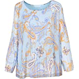 M Made in Italy Women's Woven L/S Pleated Top
