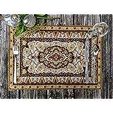 DaDa Bedding Persian Rug Placemats - Set of 4 Tapestry Intricate Elegant Royal Golden Opulence - Floral Damask Decorative Cot