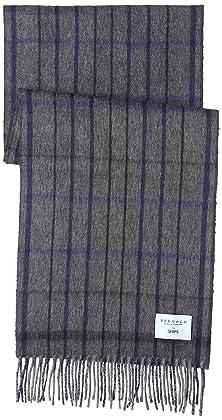 Wool Angora Tattersall Scarf 118-35-0212: Dark Grey