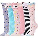 ANLISIM 6 Pair Girls Knee High Socks Cute Animal Pattern Novelty Fashion Soft Cotton Socks