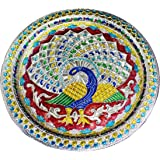 Crafts'man Decorative Puja Thali/Platter with Beautiful Peacock Design for Hindu Temple Rituals, Mandir Temple Accessory - Sp