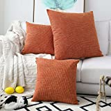 (70cm x 70cm,2 Pieces, S-Orange) - Kevin Textile Decorative Hand Made Faux Linen Throw Pillow Cover Cushion Case for Floor wi