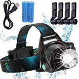 Rechargeable Headlamp, Hard Hat Light – Adults LED Headlamp Flashlight, Perfect Headlamps for Camping, Head Lamps for Adults,