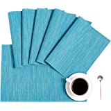 DOLOPL Placemats Blue Placemat Set of 6 Crossweave Woven Vinyl Easy to Clean Wipeable Washable Heat Resistant Table Mats for