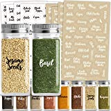 Talented Kitchen 300 Cursive Spice Labels Preprinted – 300 Black & White Labels: Spices + Numbers + Expiration Dates + Blanks