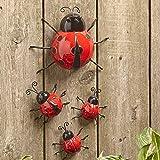 The Lakeside Collection Set of 4 Metal Garden Ladybugs -