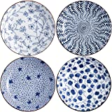 Swuut Ceramic Salad Plate Set,Blue and White 8 inch Serving Plates Floral Dinner Shallow Plates Set of 4, Serving Bread Appet