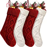 Fesciory 4 Pack Personalized Christmas Stockings 18 Inches Large Size Cable Knitted Stocking Gifts & Decorations for Family H