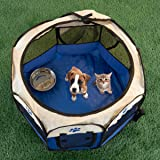 PETMAKER 80-PET6081 Pop-Up Pet Playpen with Carrying Case, Blue