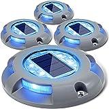 Siedinlar Solar Lights Outdoor Garden 4 Blue LED light Waterproof Deck Driveway Light Pathway Step Garden Stairs Sidewalk Pat