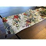 DaDa Bedding Elegant Tapestry Table Runner - Tropical Paradise Floral Garden Birds - Multi-Colorfu Cotton Linen Woven Dining