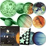 Glow in The Dark Stars and Planets Solar System Wall Stickers Sun Earth and so on Glowing, 9 Wall Ceiling Decals for Bedroom
