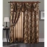 "Golden Linen Jana Collection 2pc Curtain Set with Attached Valance and Backing 55""X84"" Each, Polyester & Polyester Blend, Bro"