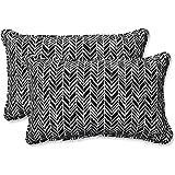 "Pillow Perfect 609805 Outdoor/Indoor Herringbone Night Lumbar Pillows, 11.5"" x 18.5"", Black, 2 Pack"
