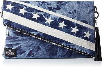 [レジスタ]クラッチバッグ ショルダーバッグ 2WAY 大容量 キャンバス 帆布 デニム ふたつ折り 星 星条旗柄 抜染加工 セカンドバッグ