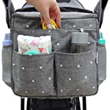 Parents Organizer Bag - Fits All Baby Strollers. Travel Bag W/Removable Shoulder Strap for Carrying Bottles Diapers Toys & Sn