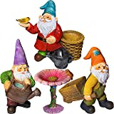 """Mood Lab Miniature Gardening Gnomes Set of 4 pcs - 3,1""""-3,7"""" Height Gnome Figurines & Accessories - Kit for Outdoor or House"""