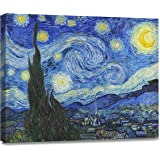 (Starry Night 1) - ArtKisser Starry Night by Vincent Van Gogh Canvas Wall Art Modern Home Decor Bedroom and Living Room Decor