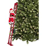 Mr. Christmas Indoor/Outdoor Deluxe Stepping Santa Holiday Decoration, 56-inch, Red