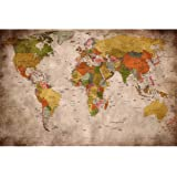 Wallpaper Used Look - Wall Picture Decoration Globe Continents Atlas World Map Earth Geography Retro Old School Vintage map P