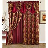 "Golden Linen Jana Collection 2pc Curtain Set with Attached Valance and Backing 55""X84"" Each, Polyester & Polyester Blend, Bur"