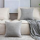 Home Brilliant Thanksgiving Decor Throw Pillows Striped Velvet Cushion Cover for Chair Decorative Pillowcase, Set of 2, Light