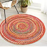 Jute Multi Chindi Round Braided, Hand Woven Reversible, Multi Colored Indian Mat Recycled Rug, Boho Decorative Rug for Kitche
