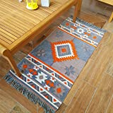 Secret Sea Collection, Southwest Style Small Area Rug, Velvet, (2' x 4' feet) (Orange-Grey)