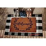 Scarlett Arrow Outdoor Rug - Large Black & White Buffalo Checkered Floor Mat for Porch, Front Door, Kitchen & Bathroom - Wash