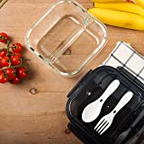 Miusite Square Glass Food Storage Container 2 Compartments with Lid, Knife, Fork Airtight Leak-Proof Bento Lunch Box Microwav