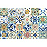GSS Designs 24 PC Pack Traditional Mexican Talavera Tile Stickers for Bathroom & Kitchen Backsplash Decoration 4x4 Inch (10x1