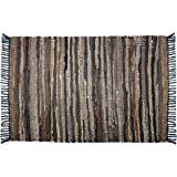 Cotton Craft Leather Chindi Rug 2x3 Feet - Tan Multi - Hand Woven & Hand Stitched - Strips of Genuine Leather are Woven by Ha