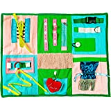 Fidget Blanket Sensory Pad with Activities for Toddlers and Elderly, Aids in Therapy of Children with Autism and Seniors with