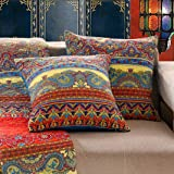 Exclusivo Mezcla Luxury Cotton Boho Stripe Throw Pillow Covers/Cases (2 Pieces, 18X18 Inch) Machine Washable and Dryable-Patt