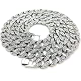 "Mens Iced Out Hip Hop Silver CZ Miami Cuban Link Chain 8"", 9"", 20"", 24"", 30"", 36"" Necklace Bracelet"