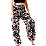 Noonew Women's Smocked Waist Yoga Pants Hippies Harem Bohemian Boho Clothing Styles