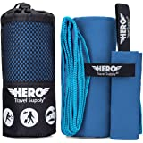 Hero Travel Towels for Camping, Backpacking, Beach, Fitness - Ultra Soft and Absorbent Quick Dry Microfiber - Lightweight and