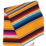 Mexitems Large Authentic Mexican Blankets Colorful Serape Blanket 7' X 5' (Pick Your Color) (Yellow)