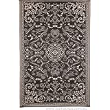Murano Black and Cream Outdoor Rugs and Mats   Recycled Plastic Rugs (180x270 cm)
