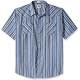 Ely & Walker Mens 15A2703-BLX Short Sleeve Stripe Western Shirt - Big Stripes Short Sleeve Button-Down Shirt