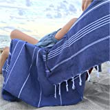 Luxury Turkish Beach Towel with Zipper Pocket 100% Natural Cotton - Sand Free Lightweight Quick Dry | Hand Face Fouta GIFT |
