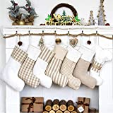 LUBOTS Set of 6 (6 Boots +1 Bone) Christmas Stockings(20inch) Plaid/Rustic/Farmhouse/Country Fireplace Hanging Canvas Handmad