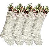 "Komotu Pack 4,18"" Unique Ivory White Knit Christmas Stockings"