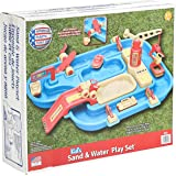 American Plastic Toys Kids' Sand and Water Playset, One-Piece Industrial Waterway with Wave Maker and Sandpit, 360-Degree Rot
