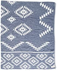 Bersuse 100% Cotton Teotihuacan XL Dual-Layer Blanket Turkish Towel - 78X94 Inches, Dark Blue