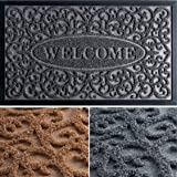 Extra Durable Door Mat Outdoor/Indoor - Non-Slip Entry Door Mat (30 x 18) - Easy Clean Front Back Door mat - Rubber Doormat O