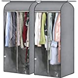 AOODA 2 Packs Clear Garment Bags for Closet Storage with PVC Window Well Sealed 54 inch Large Hanging Garment Clothes Cover P